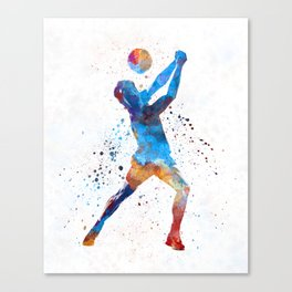 Volley ball player man 01 in watercolor Canvas Print