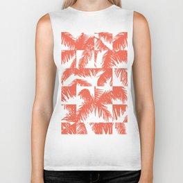 Palm Leaf Pattern Orange Biker Tank