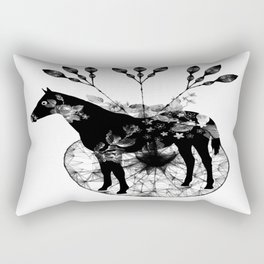 Black and white horse and the flowers Rectangular Pillow
