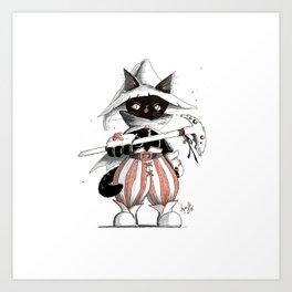 Black Mage Black Cat Art Print
