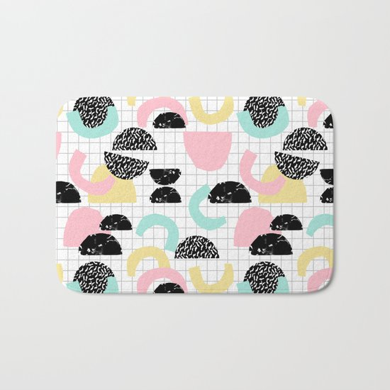 Pretty Much - abstract minimal memphis 80s style retro throwback grid pattern design Bath Mat