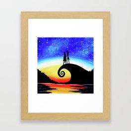 Jack And Sally Starry Night Framed Art Print