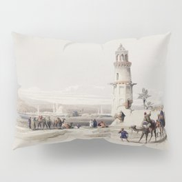 Siout (assiut) is the largest town in upper Egypt  by David Roberts (1796-1864) Pillow Sham