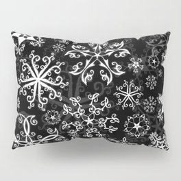 Symbols in Snowflakes on Black Pillow Sham
