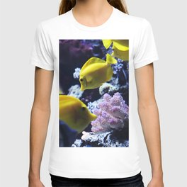 Under the Sea Swimming Yellow Fish Coral Reef Sea Anemone Underwater Photography Wall Art Print T-shirt