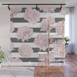 Rose Garden Stripes Pink Flamingo on Storm Gray and White Wall Mural