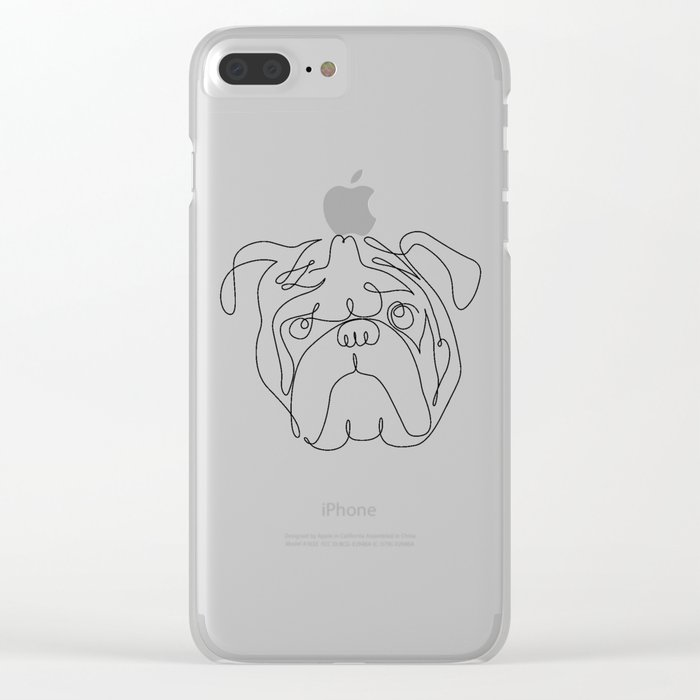 One Line English Bulldog Clear iPhone Case