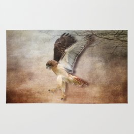 Red Tail Hawk in Vintage Light Rug