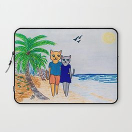 Cats walking on a beach Laptop Sleeve