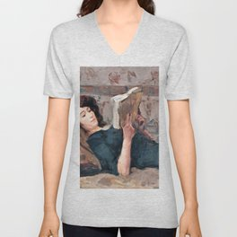 Isaac Lazarus Israels - Reading Woman On A Couch - Digital Remastered Edition Unisex V-Neck