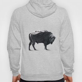 Bison Mountain Black and white art Hoody
