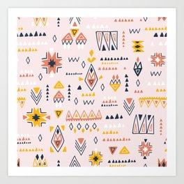 Vintage ethnic elements hand drawn on pastel background illustration pattern Art Print