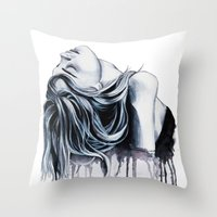 cara delevingne Throw Pillows featuring Cara Delevingne by Asquared2Art