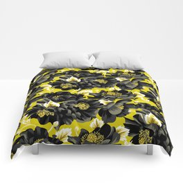 Mount Cook Lily - Yellow/Black Comforters