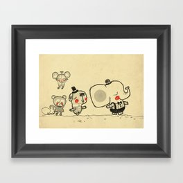 Forest Friends \ Cute Animals March\ elephant cats dogs  Framed Art Print