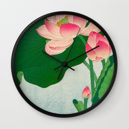 Ohara Koson Flowering Lotus 1930s Japanese Woodblock Print Vintage Historical Japanese Art Wall Clock