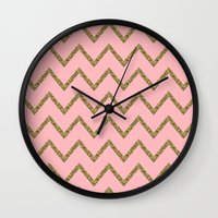 gold glitter Wall Clocks featuring Gold & Pink Glitter Chevron by Stay Inspired