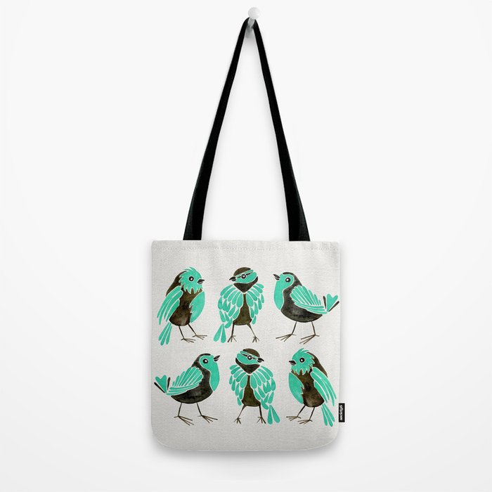 Turquoise Finches Tote Bag