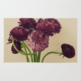 Purple Ranunculus Flowers Rug