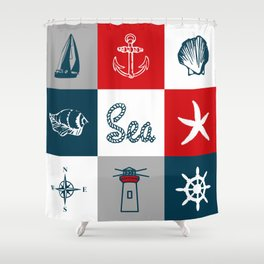Nautical design 4 Shower Curtain