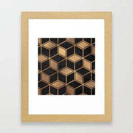 Charcoal and Gold - Geometric Textured Cube Design II Framed Art Print