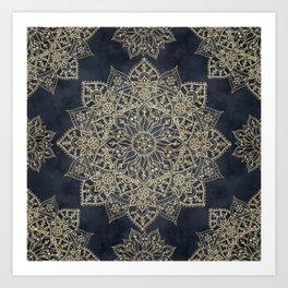 Elegant poinsettia flower and snowflakes mandala art Art Print
