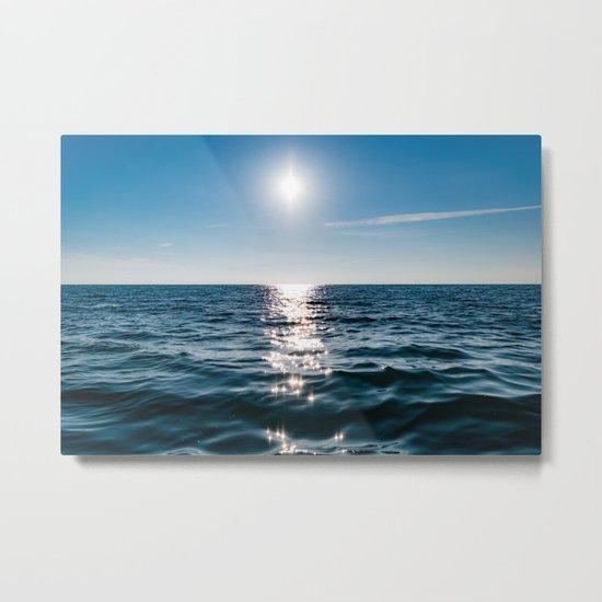 Sea Blue Sky sun Metal Print