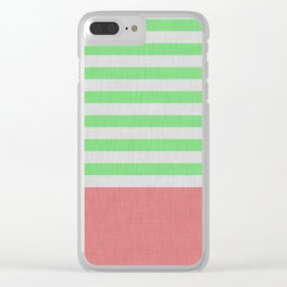 Green and orange stripes and color block Clear iPhone Case