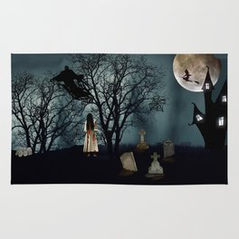 Haunted Forest Halloween Background Rug