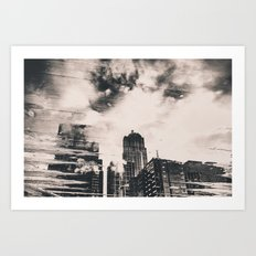City Architecture Seattle Pike Place Market Black and White Water Clouds Reflection Art Print
