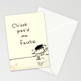 """""""It Ain't My Fault"""" Improper French Ape Stationery Cards"""