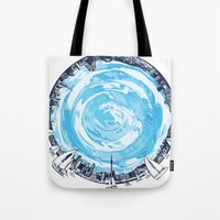 cities Tote Bags featuring Paronamic NZ by MARIA BOZINA - PRINT