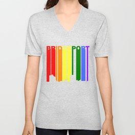 Bridgeport Connecticut Gay Pride Rainbow Skyline Unisex V-Neck