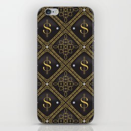 Abstract quilted pattern with dollar sign iPhone Skin