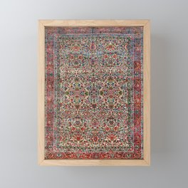 South Persia 19th Century Authentic Colorful Red Pink Blue Vintage Patterns Framed Mini Art Print