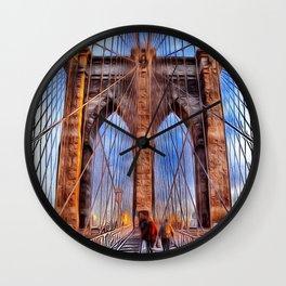Patterns of Places - Brooklyn Bridge Wall Clock