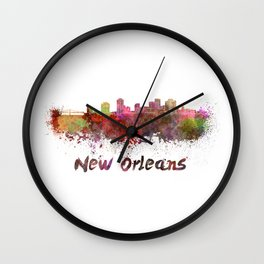 New Orleans skyline in watercolor Wall Clock