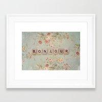 bonjour Framed Art Prints featuring Bonjour by Christine Hall
