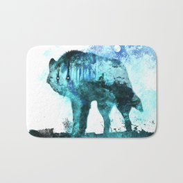 Double Exposure Wolf / Full Moon Wolves / Dark Forest Witch / Galaxy Space Wolf Bath Mat