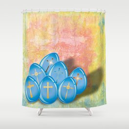 Blue eggs and crosses on pastel textured background Shower Curtain