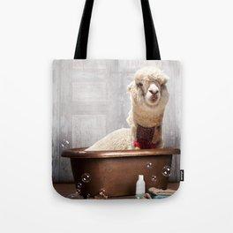 Llama in Vintage Bathtub Tote Bag