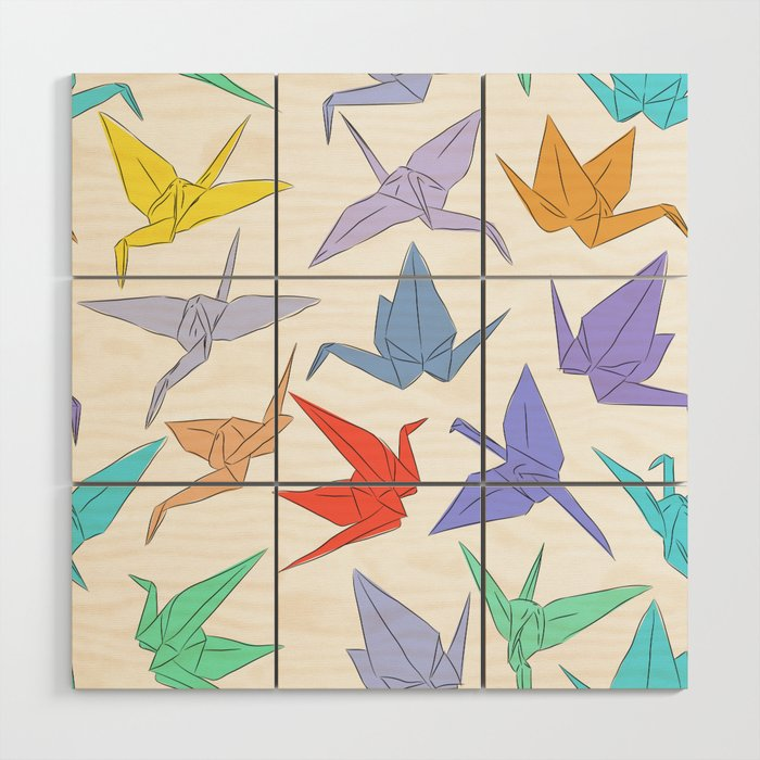 Japanese Origami Paper Cranes Symbol Of Happiness Luck And Longevity Wood Wall Art By Ekaterinap