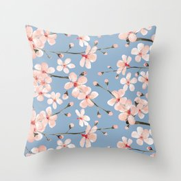 Cherry Blossom, blush pink watercolor on slate blue Throw Pillow