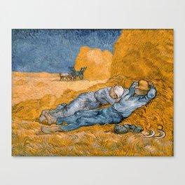 "Vincent van Gogh - Noon Rest From Work (A ""Copy"" of a Jean-François Millet Work) Canvas Print"