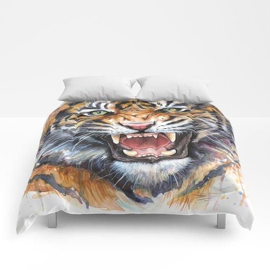 Tiger Roaring Wild Jungle Animal Comforters