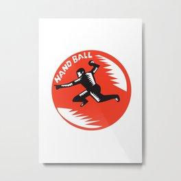 Handball Player Jump Striking Circle Woodcut Metal Print