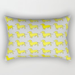 Doxie Love - Grey and Yellow Rectangular Pillow