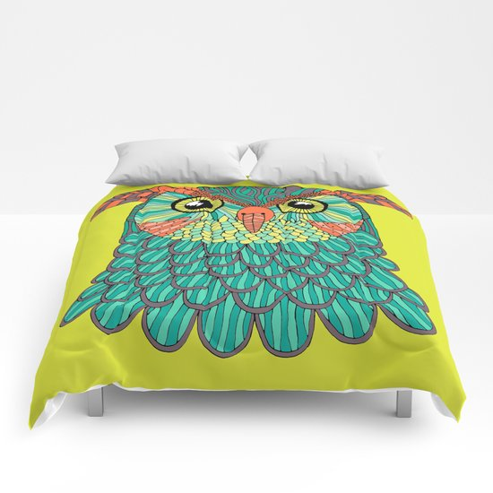 owl - Lime green Comforters