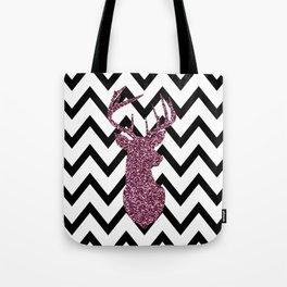 Pink Glitter Deer Chevron Tote Bag