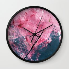 Orchid: a bright abstract mixed media piece in blue, pink, and, black Wall Clock